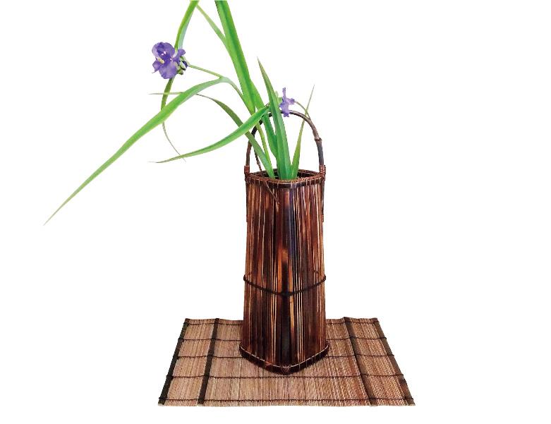 煤竹黒竹手付き花かご
